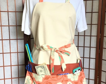 Practical Floral Crafters Full Apron, Canvas Big Pocket Apron, Craft Show Money Supplies Apron, Housework, Garden Apron, Teachers Work Apron
