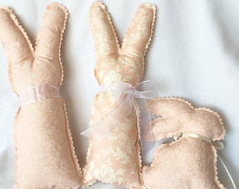 Pink Stuffed Bunnies, Soft Floral Fabric and Ribbons Rabbits, Vintage Bunny Decor