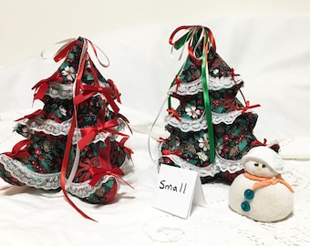 Small Christmas Fabric and Lace Trees, Christmas Trees Table Decor, Holiday Decorations, Stuffed Christmas Tree