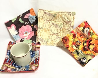 Harvest Birds, Pumpkins, Pink Floral Small Microwaveable Bowl and Cup Hot pads,  Hot Chocolate Cup Hot Pads, Microwave Safe Cup Hot Pads