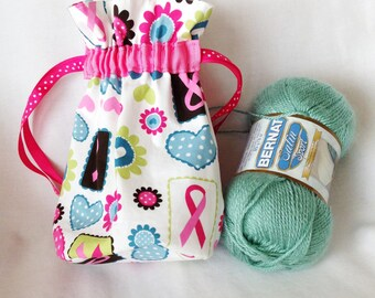 Breast Cancer Awareness Small Drawstring Bag, Knitting/Crochet Project Bag, Travel Pouch, Cosmetic Bag, Child's Little Toys Bag
