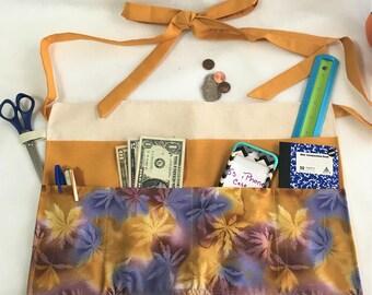 Practical Floral Crafters Apron, Canvas Duck Big Pocket Apron, Craft Show Money Supplies Apron, Housework Adult Apron, Teachers Work Apron