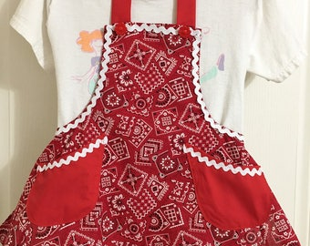 Red Bandanna Print Small Child Full Apron with Flower Buttons, Colorful Red and White Child Cooking Apron, Craft or Painting Child Aprons