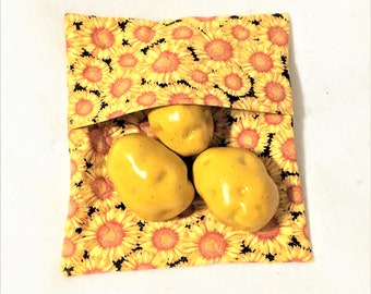 Sunflowers Galore Print Potato Bags, Microwaveable Large Potato Cooking Bag, Kitchen cooking bag, Corn on the Cob Cooking, Warm Bread