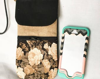 Brown, Black and Tan Floral Phone Pouch, Zipper Pocket Cell Phone Pouch, Large Cross Body Cell Phone Pouch