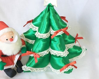 Green Satin and Lace Fabric Christmas Trees, Stuffed Fabric Christmas Trees, Green Satin and Lace Ruffles Christmas Trees