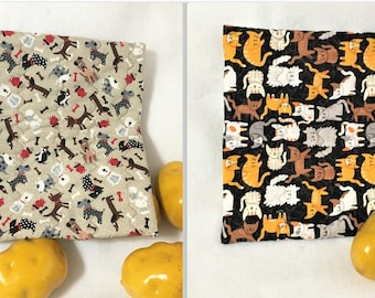 Cats and Dogs Quilted Potato Bags, Large Microwaveable Potato Cooking Bags, Corn Cobb Cooking, Cute Cats or Playful Dogs Print Potato Bag