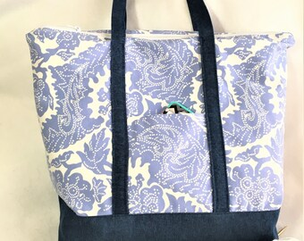 Extra Large as Blue Paisley Canvas Tote Bag, Knit/ Crochet Project Bag, Beach Travel Tote, Shopping Carry All, Crafting Tote Bag, Canvas
