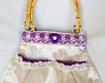 Whimsical Lace and Satin Handbag, Spring/Summer Young Women and Teen Floral Purse with Lace and Satin