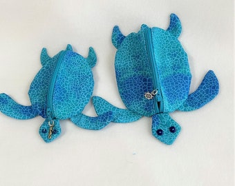 Unique Handmade Teal Sea Turtle, Fun Turtle Shaped Small Zipper Pouch, Knitting/Crochet Project Accessory, Child's Toy Pouch, Coin Purse