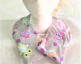 Washable Curved Pink and Purple Owls Flannel Aromatic Neck Warmers, Removable Sleeve, Handmade Therapeutic Fabric Neck Warmer, Scented Pack