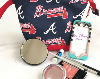Opens Wide Atlanta Braves Baseball Team Cosmetic, Accessory, Toiletry Pouch, Wedge pouch, Red and Navy Cosmetic Pouch, Beaded Zipper Pull