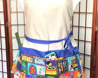 School Kids 7 Big Pocket Full Work Medium Lg Apron, Teachers, Festival Vendor Money Apron, Craft or Painting Adult, Gardening Canvas Apron