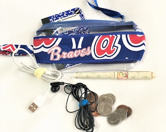 Old Braves Uniform Style Baseball Ribbon Clear Vinyl Zipper pouch, Cosmetic, Accessory, Pencil Pouch, See Thru Zipper Pouch