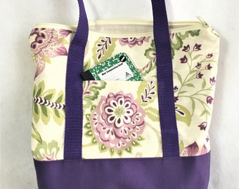 Large Purple Floral Zipper Canvas Tote Bag, Knit/ Crochet Project Bag, Beach Travel Tote, Shopping Carry All, Crafting Tote Bag, Canvas Bag