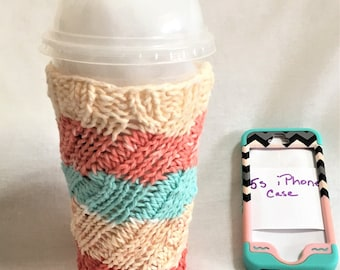 Summer Beach Knit Hot Cold Drink Cozy, Teal Orange and Cream Large Cup Cozy, Cotton Knit Water Bottle Cozy, Smoothie Cup Cozy, Beach Life