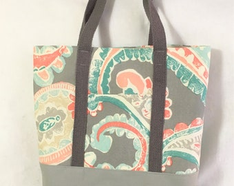Extra Large Grey Teal Floral Canvas Bag, Knit/ Crochet Project Bag, Beach or Travel Tote, Shopping Carry All, Crafting Tote, Canvas Bag