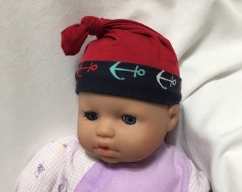 Anchors and Navy Baby Knit Fabric Hat, Child's Stretchy Cap, Newborn Soft Cap, Stretch Knit Hat, Floral Baby Girl Sun Hat