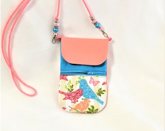 Peachy Cell Phone Pouch,  Mother's Day Gift Idea, Turquoise, Birds Phone Pouch, Cross Body Zipper Phone Purse, Phone Pouch Zipper Pocket
