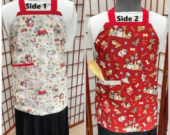 Playful Dogs Reversible Christmas Aprons,  Reverse Red Dog Print, Adult-Child Aprons,, Kitchenware, Linen, Holiday cooking, Baking Apron