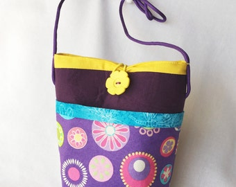 Cross-body Purple Purse, Kindle, Book Reader, Phone Tote, Cross-body Bag, Purple and Floral Bag