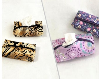 New Personal Tissue Pouches, Purple Floral Accessory Pouch, Purse Tissue Pouch, Fabric Tissue Holder, Cosmetic Accessory Tissue Holder