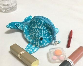 Fun Zippy Zoo Batik Tie Dye Whale Zipper Pouches, Handmade Teal Knitting/Crochet Project Accessory Pouch, Ear Bud, Child's Little Toys Bags