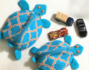 Fun Zippy Zoo Turquoise Turtle Shaped Small Zipper Pouch, Knitting/Crochet Project Accessory Bag, Electronics Ear Bud and Cords Pouch