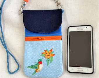 Pretty Embroidered Hummingbird and Flower Phone Pouch, Small Purse, Lovely Gift Cross Body Zipper Pocket Purse, Hummingbird Pocket Pouch
