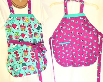 Cupcake Teal Reversible Child Full Apron, Colorful Cupcakes and Purple Floral Child Cooking Apron, Craft or Painting Child Aprons