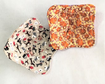 Cute Dogs and Cats Handmade Microwaveable Bowl Cozies, Dogs and Orange Cats Quilted kitchen hot pads, Soup Stew Bowl Hot Pad Microwaveable