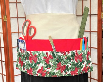 Xmas Bears Crafters & Vendor Full Apron, Canvas Big Pocket Apron, Craft Show Money Supplies Apron, Housework, Fun Apron, Teachers Work Apron