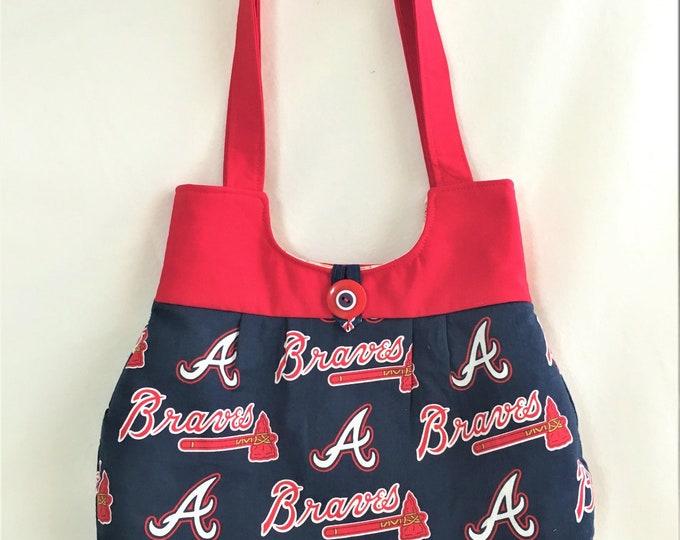 Featured listing image: Sports Fabric Fan Handbag, Atlanta Braves Red-Navy Purse, Handmade Bag