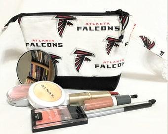 Football Fan Cosmetic Pouch, Atlanta Falcons Football Travel/Toiletry, Small Electronics Pouch, Falcons Knit/Crochet Accessory Zipper Bag