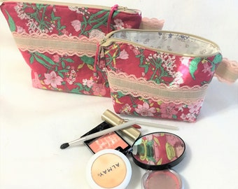 Quilted Pink Lace Floral Cosmetic Pouch, Wedge Zipper pouch, Extended zipper openpouch, Knitting Accessory Pouch, Travel Zipper Pouch