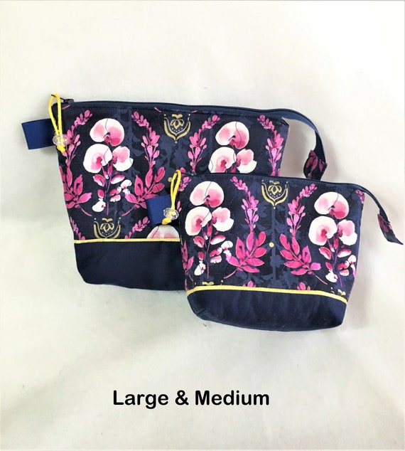 Purple floral Wedge Zippered Pouch Project Bag In Stock Ready to Ship