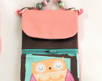 Cute Owl Peach Phone Pouch, Peach and Turquoise Zipper Pouch, Card Holder, Large Cross Body Cell Phone Pouch, Traveling, Mothers Day Gifts