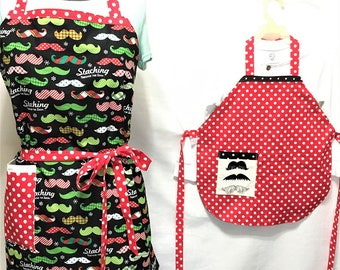 Christmas Staching Through the Snow, Everyday Mustaches Reversible Apron Adult-Child Aprons, Cooking, Kitchenware, Housewares, Holiday