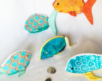 Zippy Zoo Fish Shaped Small Zipper Pouches, Knitting/Crochet Project Accessory Pouch, Ear Bud Pouch, Coin Purse, Child's Little Toys Bags