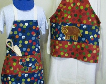 Child Full Apron with Cow Applique, Colorful Dots Child Cooking Apron, Craft or Painting Child Aprons