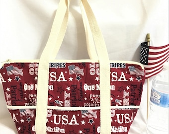 USA Burgundy Patriotic Summer Tote, Market or Shopping Tote, Knitting or Crochet Project Bag, Sturdy Canvas Carryall, Beach Tote Bag