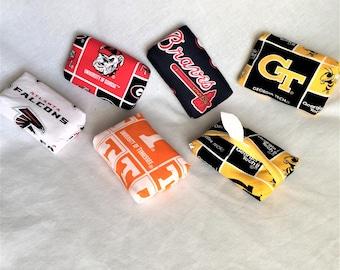 Team Personal Tissue Pouch, Cosmetic, Accessory Pouch, Purse Tissue Pouch, Fabric Tissue Holder, Braves, UGA, UT, Falcons, GA Tech