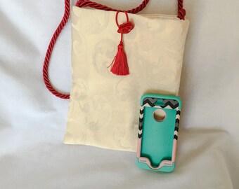 Cream Brocade and Red Cross-body Purse , Kindle, Book Reader,  Large Phone Tote, Cross-body Bag, Geometric Circles Design Bag