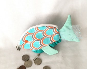 Zippy Zoo Fancy Fish Zipper Pouches, Christmas gift card holder, Knitting/Crochet, Pouch, Ear Bud Pouch, Coin Purse