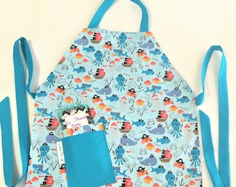 Reversible Child Pirate Sea Creatures Full Apron, Colorful Fish Child Cooking Apron, Craft or Painting Child Aprons, Teal Adjustable Apron