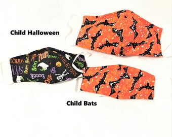 Halloween Face Masks Ships in 24 hours - Adult Teen Child Fitted Mask, nose wire fitting, reusable, filter pocket, washable, scary fitted