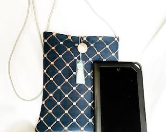 Blue Latice Stitched Lattice Cross-body Purse , Kindle, eBook Reader Purse,  Large Phone Tote, Cross-body Bag