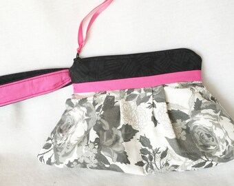 Grey, Black and Pink Floral Wristlet, Fashion Pleated Clutch, Grey Floral Black and Pink Purse, Cosmetic Bag or Small Craft Project Bag