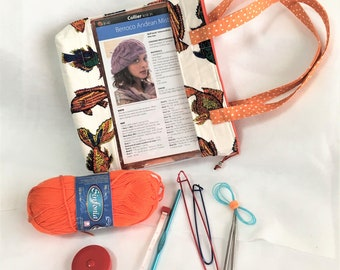 Fancy Fish Quilted Zipper See-Thru Pocket Project Bag, Knitting/Crochet Window, Travel, Cosmetic Toiletry Bag, Clear Window Pocket Toy Pouch