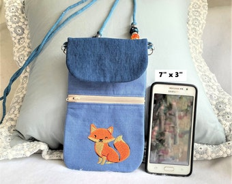 Pretty Fox Cell Phone Pouch, Cell Phone Pouch, Mother's Day Gift Cross Body Zipper Cell Phone Purse, Pocket Phone Pouch, Pretty Fox Purse